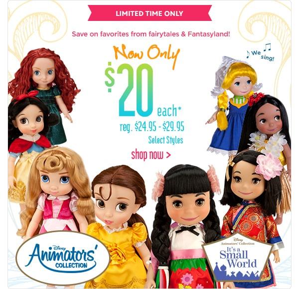 Bonecas Disney Animator somente U$20