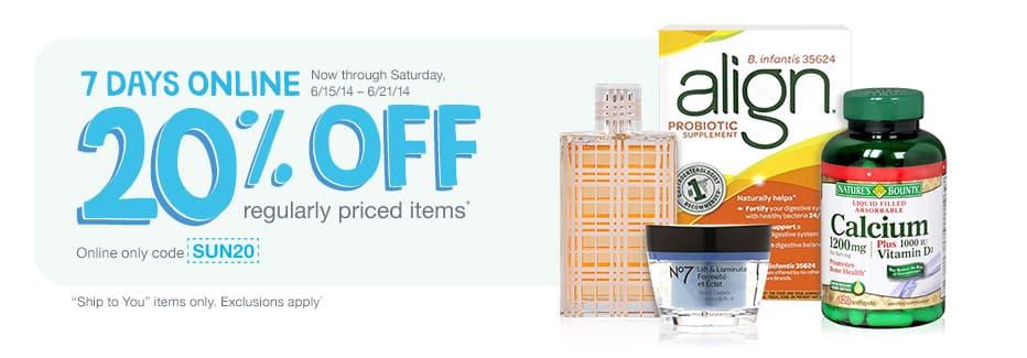 20% de desconto em Perfumes, Aussie, Vitaminas, Desitin,…